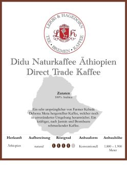 Didu Naturkaffee Äthiopien Direct Trade Kaffee