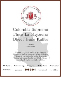 Colombia Supremo Finca La Mejorana Direct Trade Kaffee
