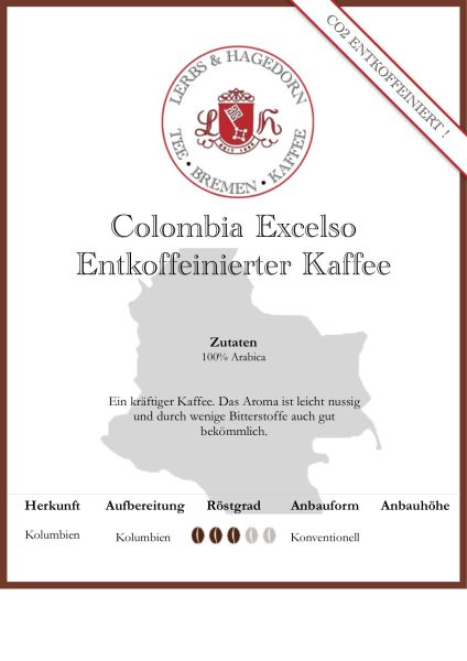 Colombia Excelso - Entkoffeinierter Kaffee