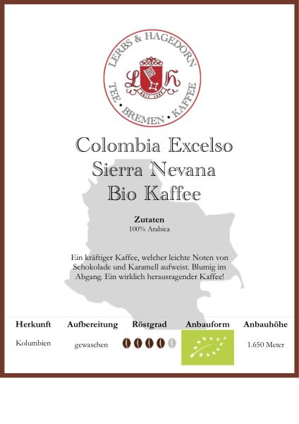 Colombia Excelso Sierra Nevana Bio Kaffee